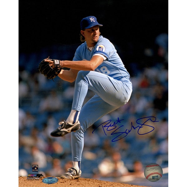 Bret Saberhagen Signed Pitching 8x10 Vertical Photo