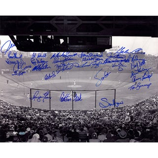 "Boston Red Sox Multi Signed B&W ""Fenway Park- Horizontal"" 16x20 Photo Fisk/Evans/Lonborg/George Scott/Lansford/Barrett"