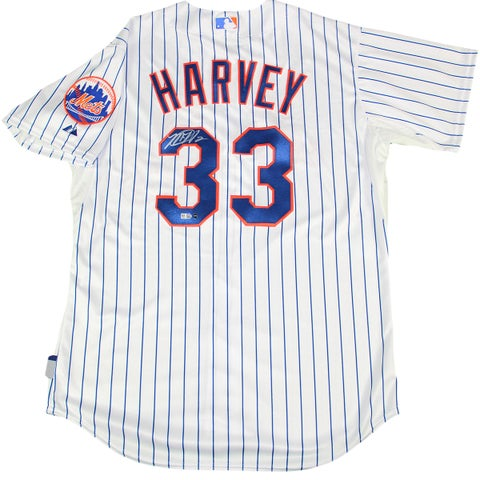 Matt Harvey Signed Mets Majestic Authentic Pinstripe Jersey with Mets Logo Patch (MLB Auth)
