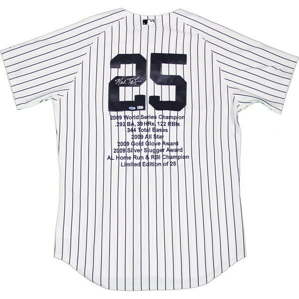 outlet store 76ebc 56268 Mark Teixeira Signed Yankees Authentic Home Pinstripe Jersey w/ Embroidered  Stats (LE/25)(MLB Auth)