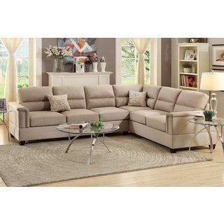Altamura 2 Pieces Sectional Sofa Upholstered in Sand Polyfiber