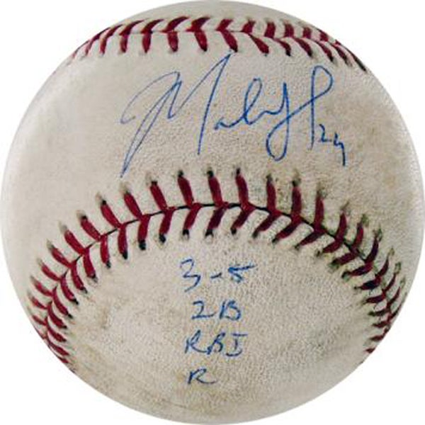 """Marlon Byrd Signed Nationals at Cubs 4-26-2010 Game Used Baseball w/ """"3-5, 2B, RBI, R"""" Insc. (MLB Auth)"""