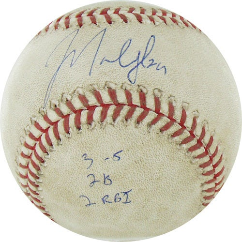 """Marlon Byrd Signed Astros at Cubs 4-18-2010 Game Used Baseball w/ """"3-5, 2B, 2 RBI"""" Insc. (MLB Auth)"""