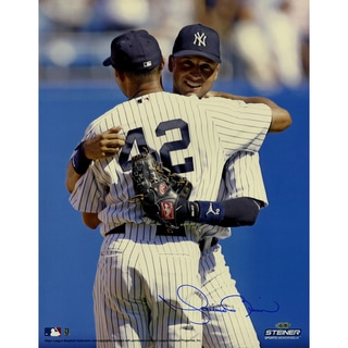 Mariano RiveraSigned  on Mound Hugging Derek Jeter Vertical 16x20 Photo