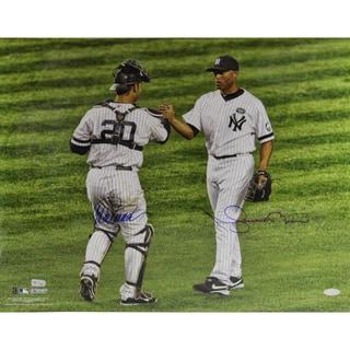 Mariano Rivera/Jorge Posada Dual Signed Hand Shake Horizontal 16x20 Photo MLB Auth)