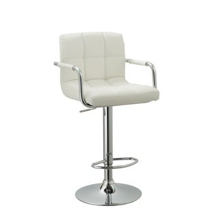 "White Leatherette Swivel-adjustable Retro Bar Stool - 25-33""h"