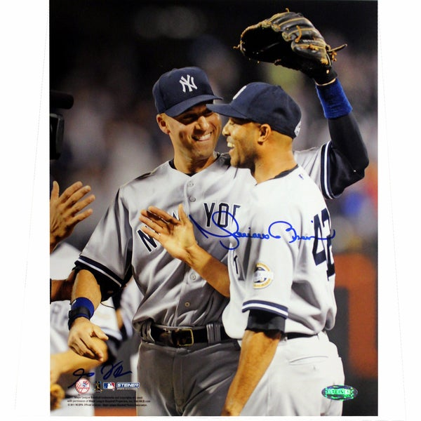 Mariano Rivera Signed with Derek Jeter Vertical 8x10 Photo (Signed By Anthony Causi)
