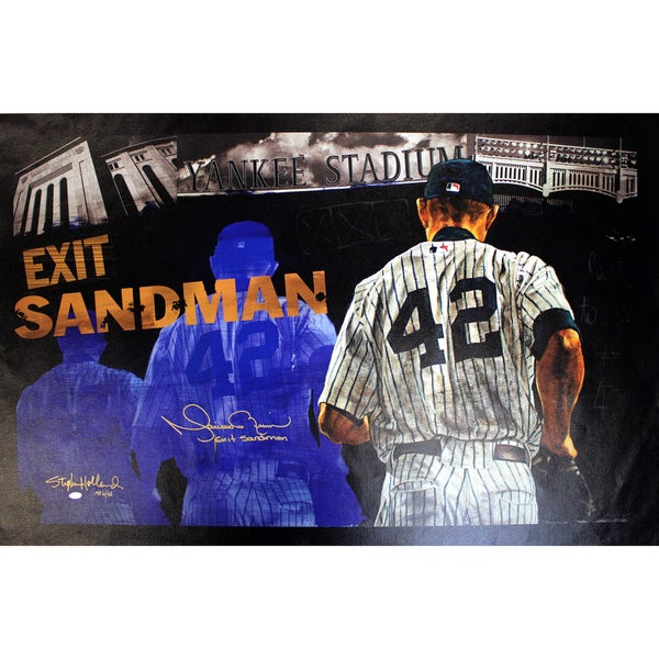 """Mariano Rivera Signed Stephen Holland Exit Sandman Giclee  25x44 Canvas w/ """"Exit Sandman"""" Insc. (LE MR of 42)"""