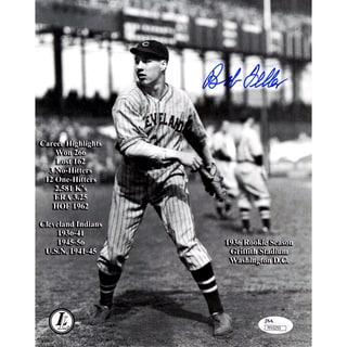 Bob Feller Signed Throwing Vertical Engraved Career Highlights Stats 8x10 Photo ( JSA )