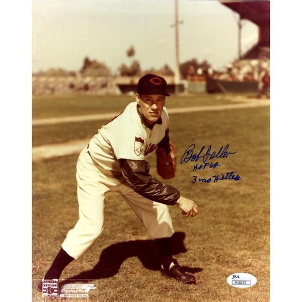 """Bob Feller Sepia Vertical Follow Through 8x10 Photo Signed w/""""3 No Hitter, HOF 62""""Insc. ( JSA )"""