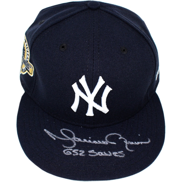"""Mariano Rivera Signed New York Yankees Farewell Hat  (Sz 7 3/8) (Style #2) - Front Mo Logo, NY on Side w/ """" 652 Saves"""" Insc."""