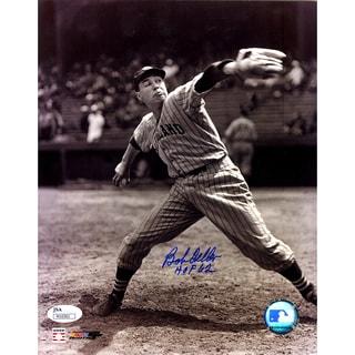 "Bob Feller Pitching Vertical B/W 8x10 Photo w/ ""HOF 62"" Insc ( JSA )"
