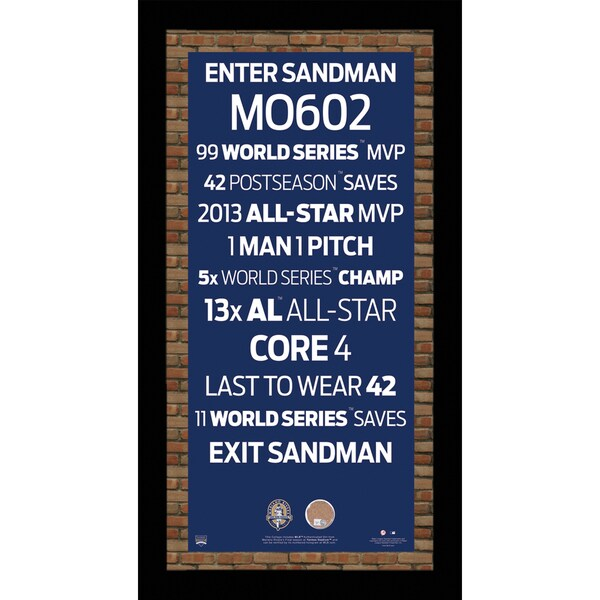 Mariano Rivera Retirement Subway Sign w/ Game Used Dirt Framed 9.5x19 7331 Style