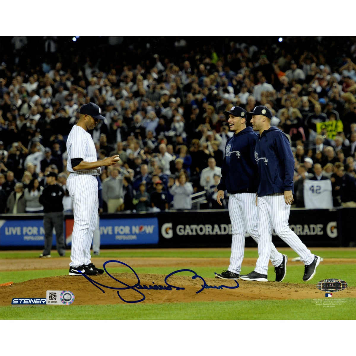 ae327c5d2bd Shop Mariano Rivera Mound w Pettitte   Jeter At Yankee Stadium Signed 8x10  Photo (MLB Auth) - Free Shipping Today - Overstock - 11205658