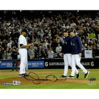 Mariano Rivera Mound w/Pettitte & Jeter At Yankee Stadium Signed 8x10 Photo (MLB Auth)
