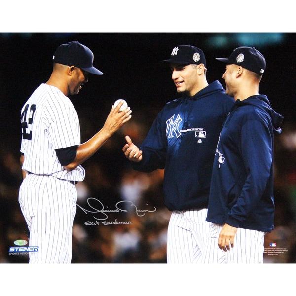 "Mariano Rivera Mound Close Up Hand Ball To Pettitte & Jeter At Yankee Stadium Signed 8x10 Photo w/""Exit Sandman"" Insc"