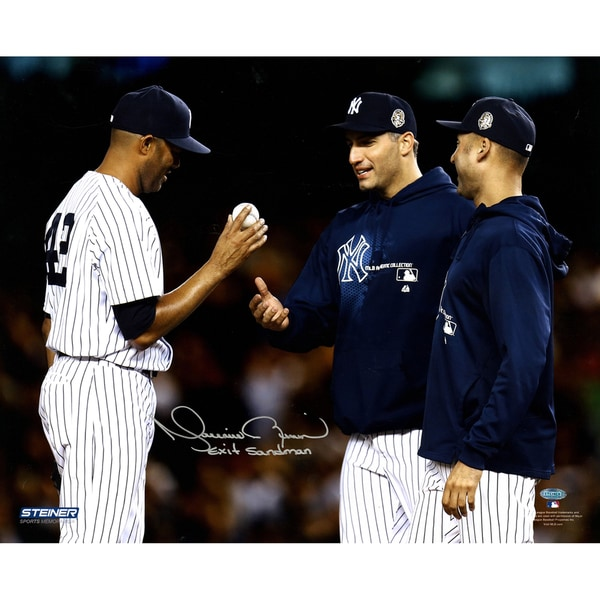 Mariano Rivera Mound Close Up Hand Ball To Pettitte & Jeter At Yankee Stadium Signed 16x20 Photo w/
