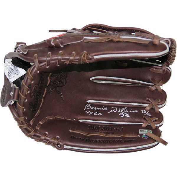 """Bernie Williams Signed Rawlings Embroidered Fielding Glove w/ """"4x GG"""" Insc. (LE/51)"""