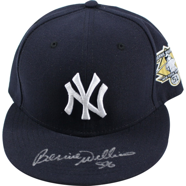 Bernie Williams Signed New York Yankees #51 Retirement Logo New Era Cap (Signed in Silver)(MLB Auth) Size: 7 1/4