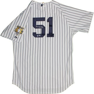 Bernie Williams Signed Majestic Authentic Jersey with Retirement Patch (MLB Auth) (Signed in Silver)