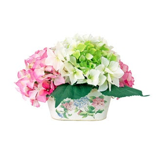 Colorful Hydrangea Clusters in Floral Print Tin Container