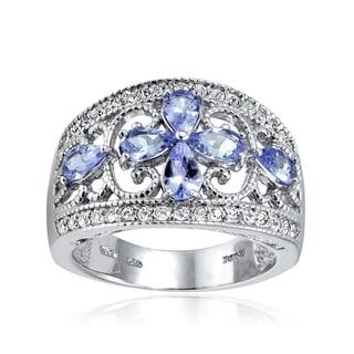 Glitzy Rocks Sterling Silver Tanzanite and White Topaz Floral Ring