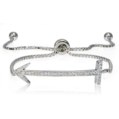 Icz Stonez Silver Cubic Zirconia Arrow Adjustable Slider Bracelet
