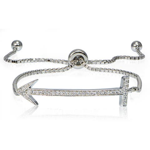 Icz Stonez Silver Cubic Zirconia Arrow Adjustable Slider Bracelet