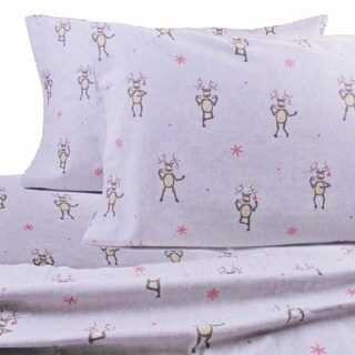 La Rochelle Drunken Reindeer Heathered Flannel Sheet Set