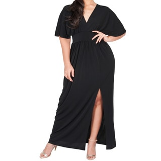 KOH KOH Women's Plus Size V-Neck Kimono Batwing Sleeve Maxi Dress with High Slit
