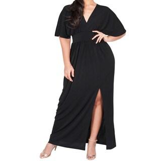 KOH KOH Women's Plus Size V-Neck Kimono Batwing Sleeve Maxi Dress with High Slit