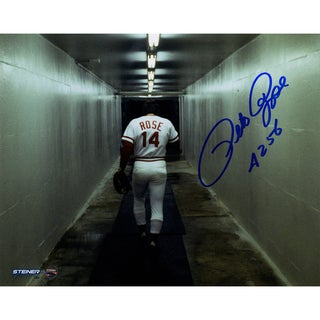 "Pete Rose Signed Walking Down Tunnel 8x10 Photo w/ ""4256"" Insc"