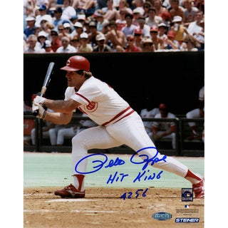 Pete Rose Signed Swinging 8x10 Photo w/ Hit King 4256 Insc