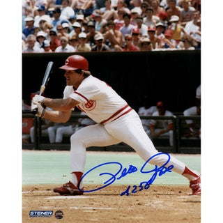 "Pete Rose Signed Swinging 8x10 Photo w/ ""4256"" Insc"