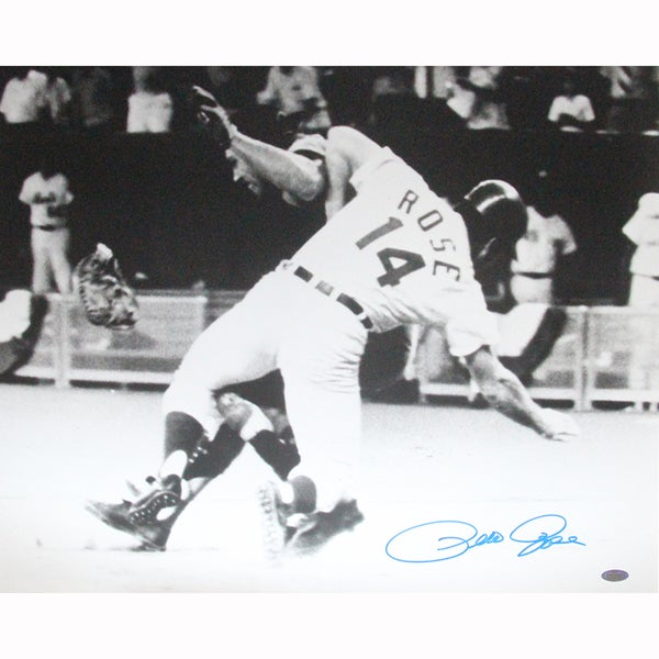 Pete Rose Signed Sliding Into Fosse Horizontal B/W 16x20 Photo