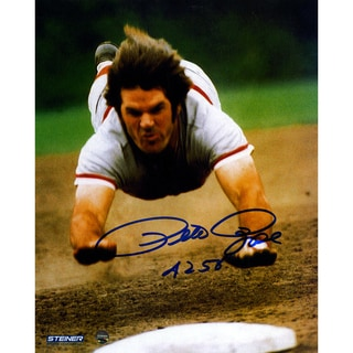 "Pete Rose Signed Head First Slide 8x10 Photo w/ ""4256"" Insc"