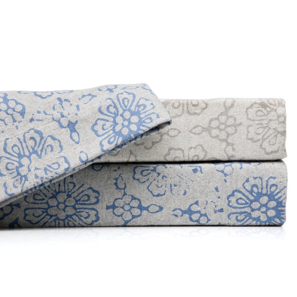 La Rochelle Abstract Heathered Flannel Sheet Set