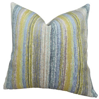 Plutus Soft Stripe Cornflower Handmade Double Sided Throw Pillow