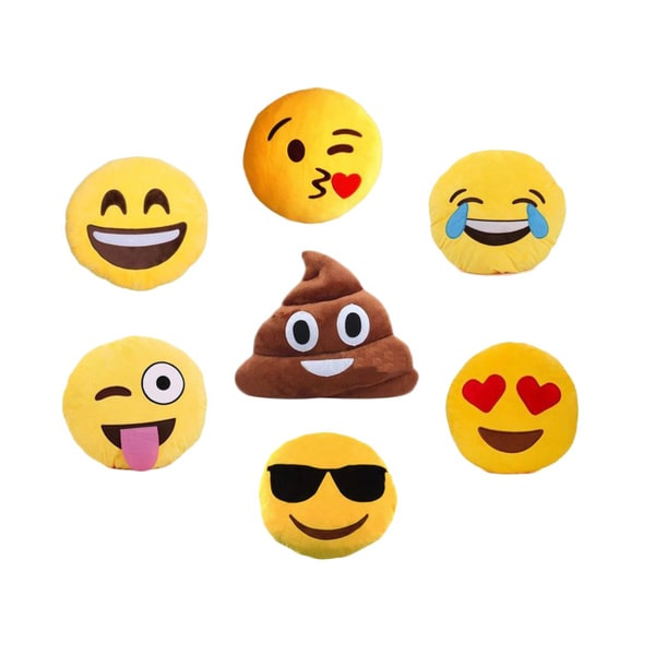 Emoji Pillow -Smiling, Kiss, Laughing, Heart, Crazy, Sunglasses or Poop