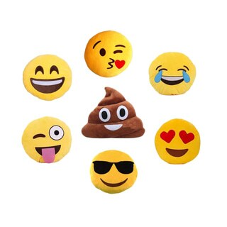Smiling, Kiss, Laughing, Heart, Crazy, Sunglasses, or Poop Emoji Pillow (More options available)