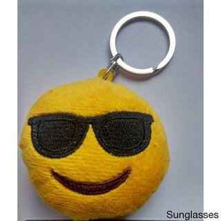 Plush Emoji Keychain - Kiss, Laughing, Heart Eyes, Smiling, Sunglasses and Poop (5 options available)