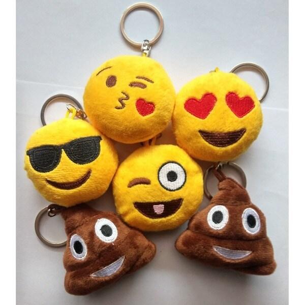 Plush Emoji Keychain - Kiss, Laughing, Heart Eyes, Smiling, Sunglasses and Poop