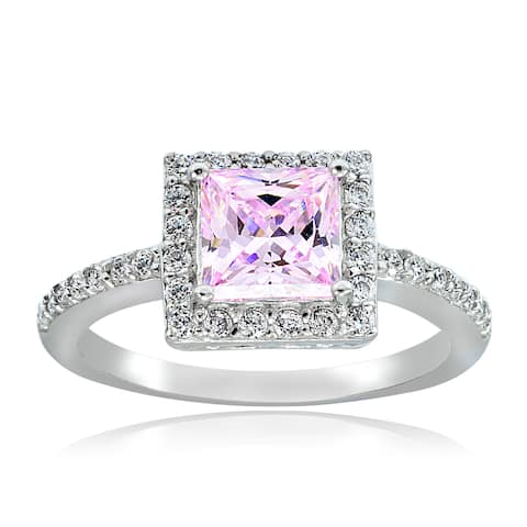 Icz Stonez Sterling Silver Cubic Zirconia Princess-Cut Ring