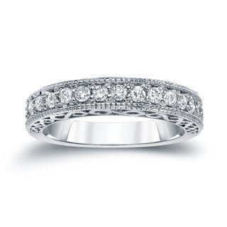 Auriya 14k White Gold 3/5ct TDW Vintage-Inspired Round Diamond Wedding Band