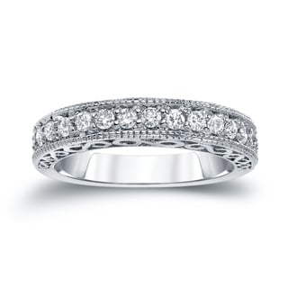 Auriya 14k White 2/5ct TDW Round Diamond Milgrain Ring (H-I, SI2-SI3)