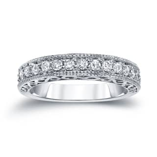 Auriya 14k White 2/5ct TDW Round Diamond Milgrain Ring|https://ak1.ostkcdn.com/images/products/11205935/P18194720.jpg?impolicy=medium