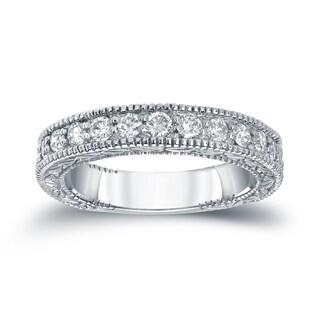 Auriya 14k White Gold 1/2ct TDW Round Diamond Milgrain Ring