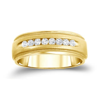 Auriya 14k Yellow 1/2ct TDW Round Diamond Milgrain Channel Band (H-I, SI1-SI2)