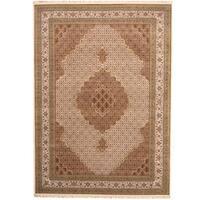 Handmade Herat Oriental Indo Tabriz Wool & Silk Rug  - 9'2 x 11'6 (India)