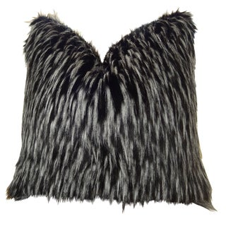 Plutus Wolf Faux Fur Handmade Double Sided Throw Pillow